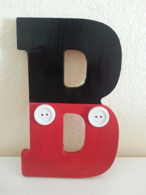 Mickey mouse themed wooden letter.