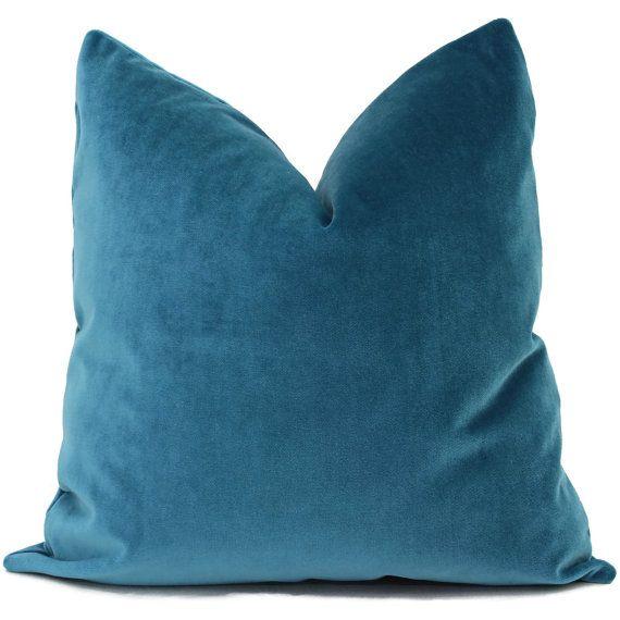Blue Lumbar Throw Pillow : Mohair Velvet Pillow, Peacock Blue Decorative Pillow Cover 18x18 , 20x20, 22x22, Eurosham ...