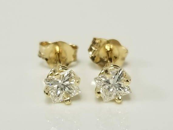 Estate 14k Yellow Gold .30ct Princess Cut Diamond Earrings