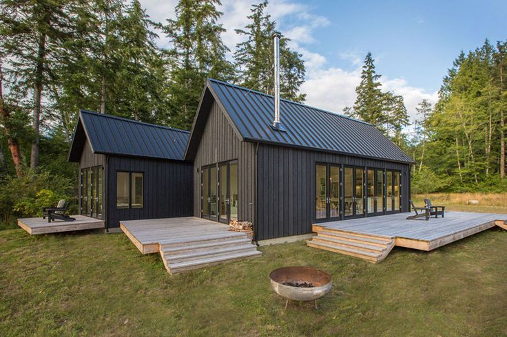 The Coyle Cabins are a Washington retreat with Danish roots. Clean lines and simple forms dominate the three gabled structures that make up the residence.