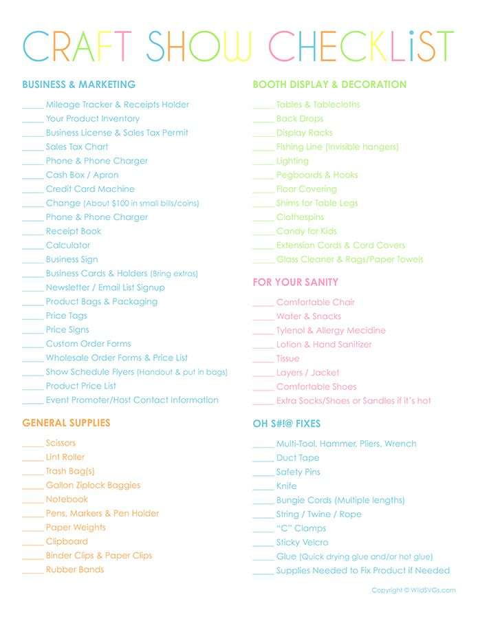 75 Things To Take To Your Next Craft Show Free Business Printables Credit Card Machine Crafts