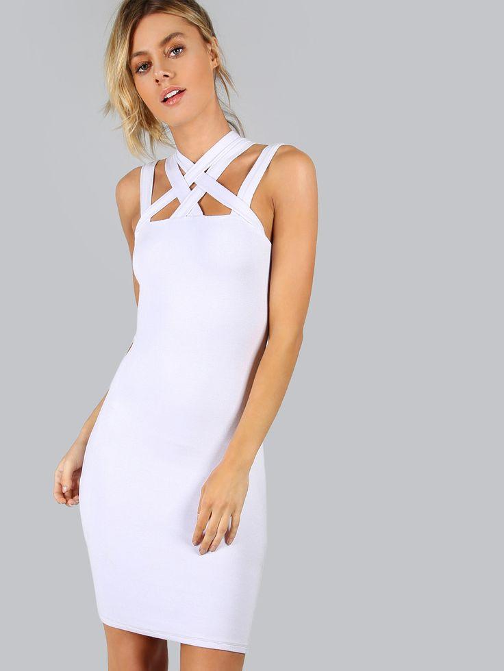 White Criss Cross Bodycon Dress