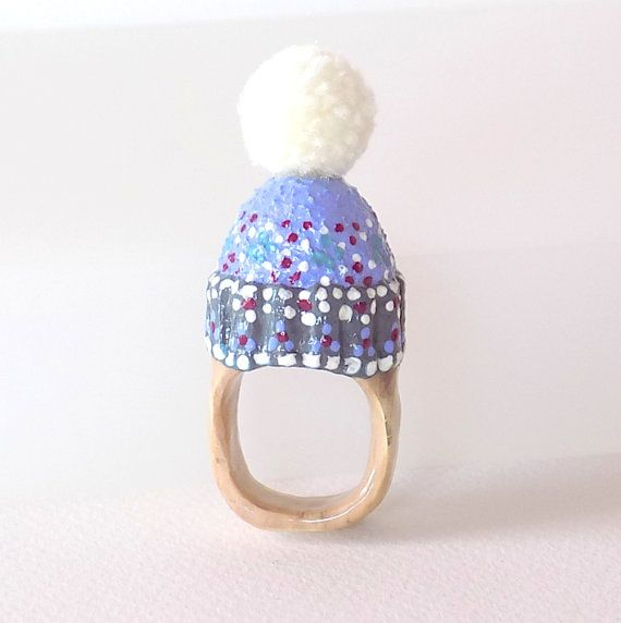 RING-Unique-OOAK-Statement Ring-made from a wine cork-Winter Hat-Gifts for Her
