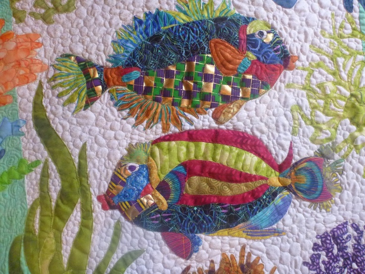 614 best images about crazy for embellishing quilts on for Fish fabric for quilting
