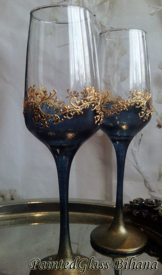 Set of 2 hand painted wedding champagne flutes Classic Black and gold color by PaintedGlassBiliana