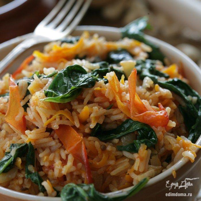 Индийский рис со шпинатом - видеорецепт | Кулинарные рецепты от «Едим дома!»