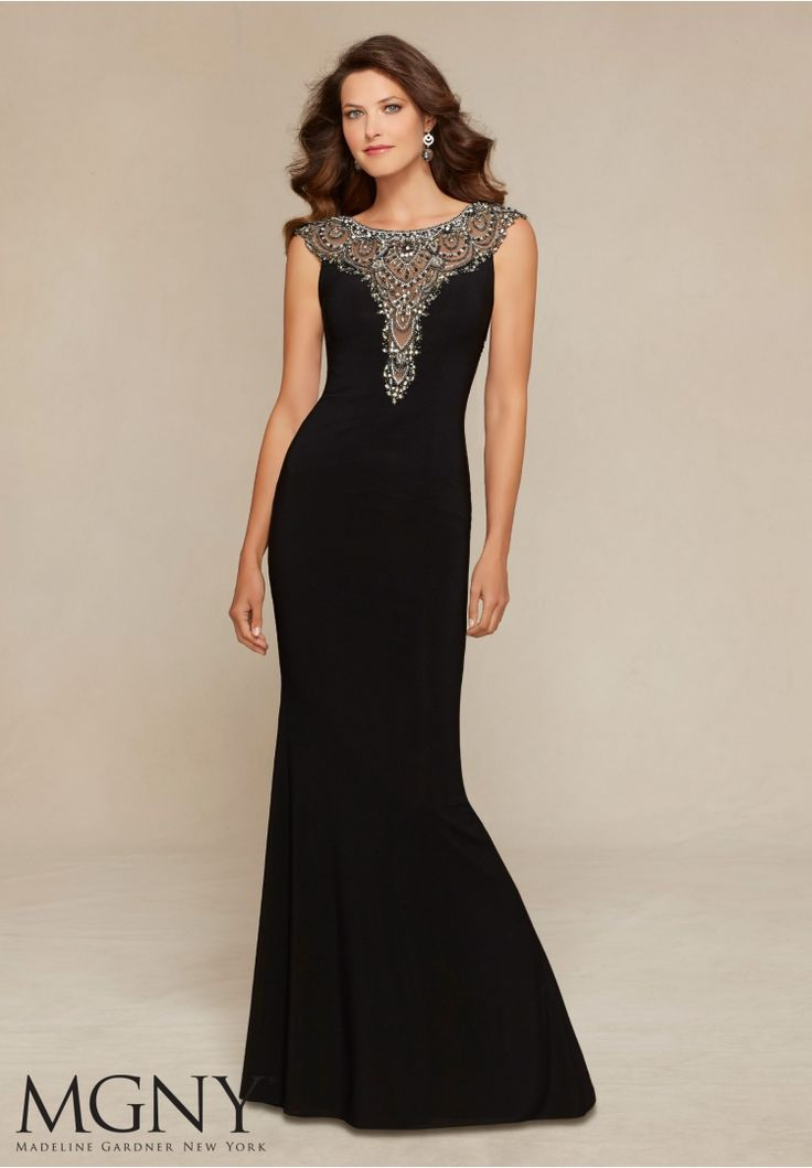 Evening Gowns and Mother of the Bride Dresses by MGNY Jeweled Beading on Jersey Colors: Gunmetal Black, Gunmetal Merlot, Gunmetal Eggplant.
