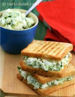 Cabbage and Paneer Grilled Sandwich recipe | Sandwich Recipes | by Tarla Dalal | Tarladalal.com | #5223