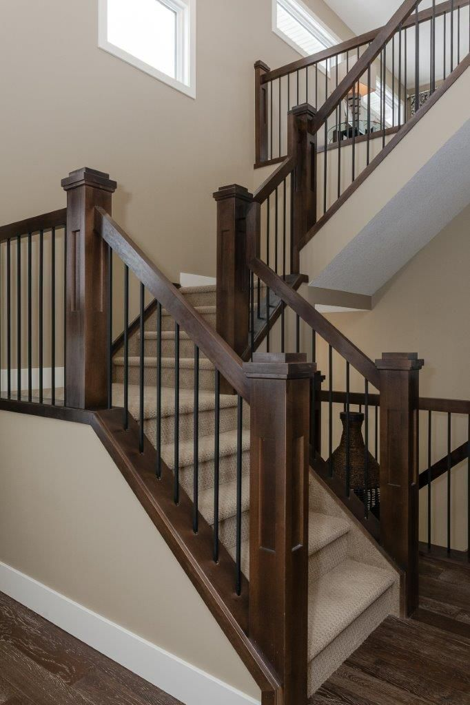Stairs Solid Stringer With Wood Newel Railing Shaker