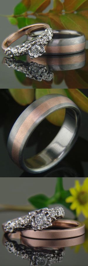 Wedding set - Custom made titanium band with rose gold inlay / rose gold shank with custom white gold details #Cool Engagement Ring