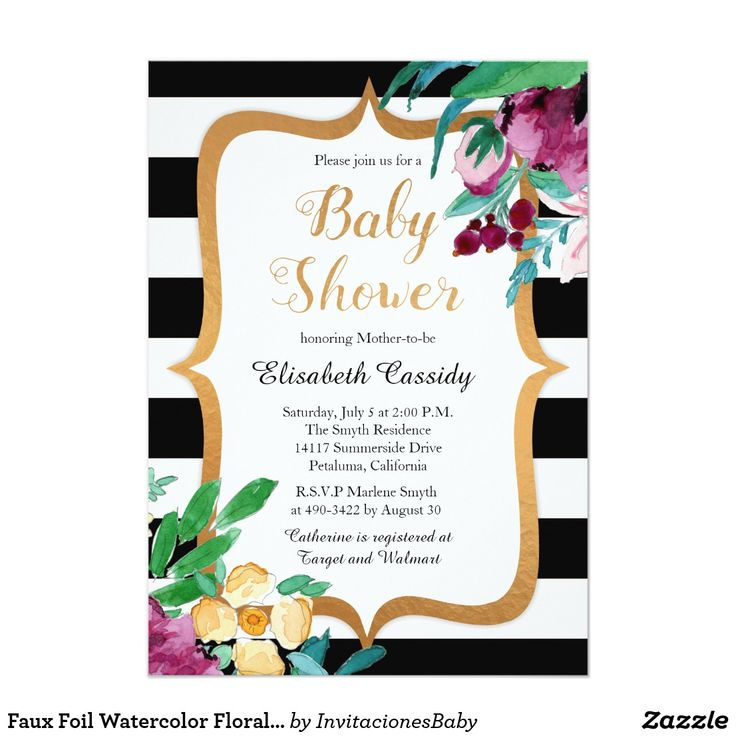 Faux Foil Watercolor Floral Baby Shower Invitation