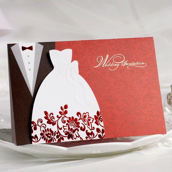 Vintage smoking y vestido de la novia y novio diseño invitaciones de boda tarjetas en Red personalizada & Printing 50 unids/lote envío gratis