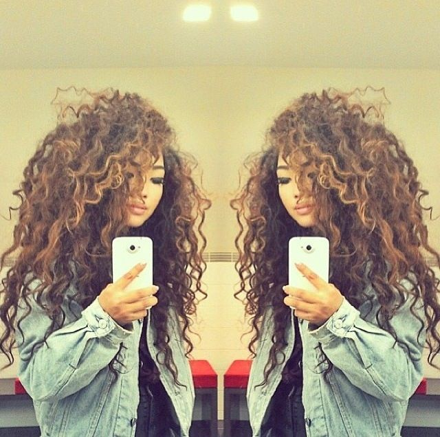 Natural curly hair. I need my hair to be this length and this thick!!