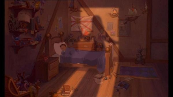 "In the film ""Treasure Planet"", on the shelf on the far left side a familiar character can be seen. It's Stitch from ""Lilo and Stitch"", which was released the same year."