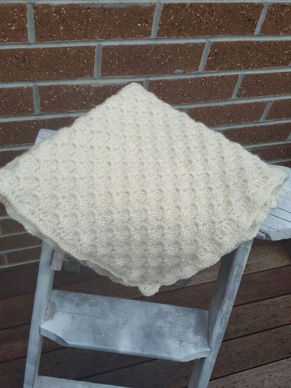 Cream wool blanket by EMajorzcrafts on Etsy
