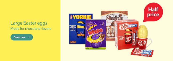 Half Price Easter Eggs Banner from Tesco  #Web #Digital #Banner #Online #Marketing #Retail #Easter #Chocolate #Sale