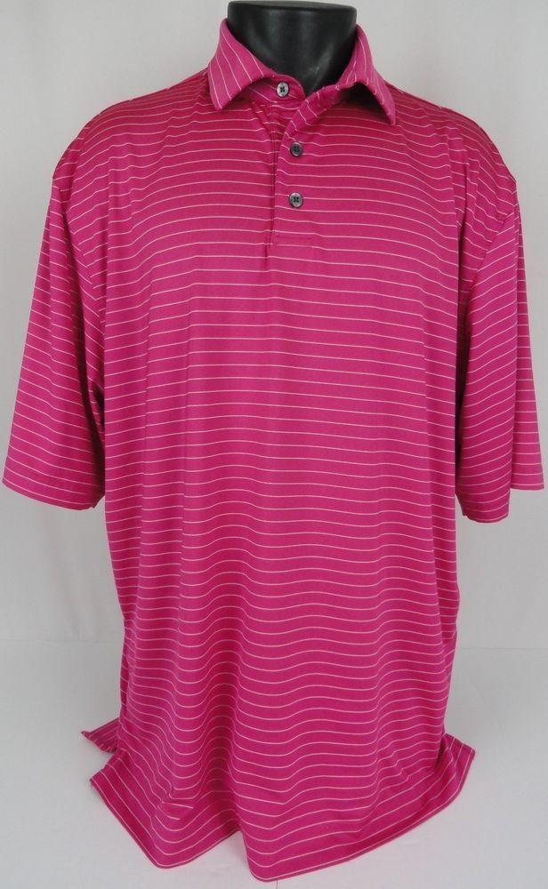 Footjoy Golf Polo Shirt Men S Xl Striped Ss Bright Pink White No