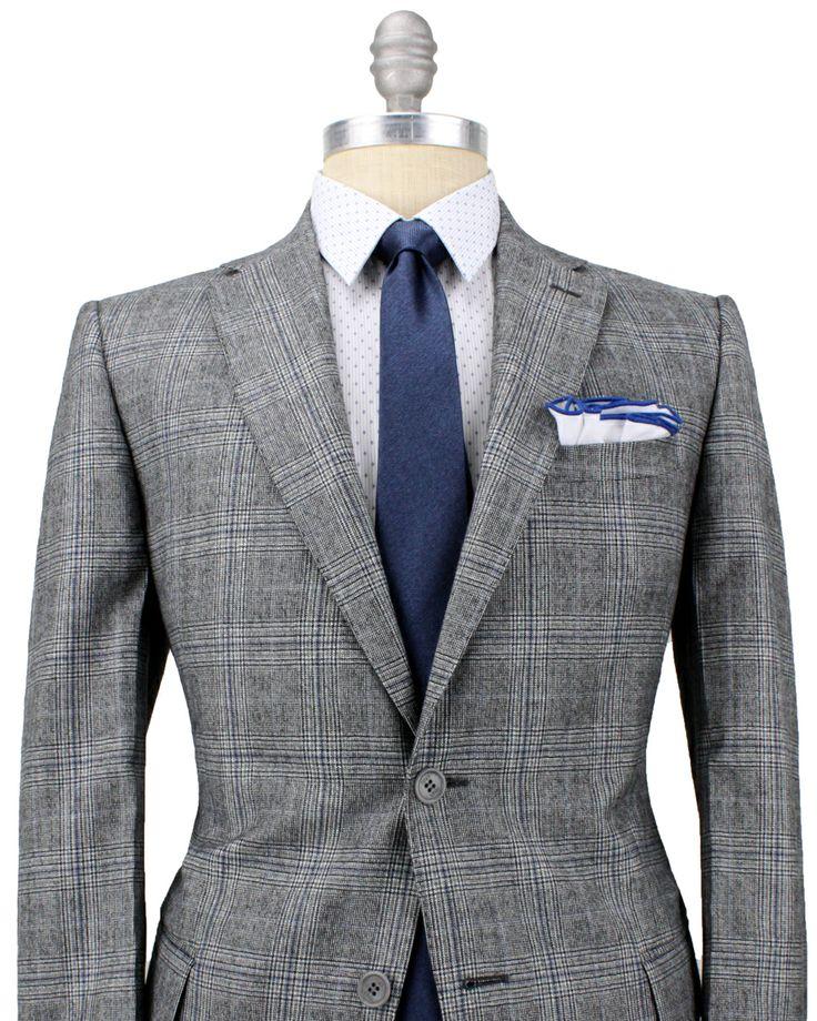 Fendi Blue And Grey Glen Plaid Suit Apparel Men S