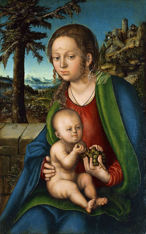 Мадонна с младенцем и виноградной гроздью (1509-1510) Кранах Лукас (Старший).