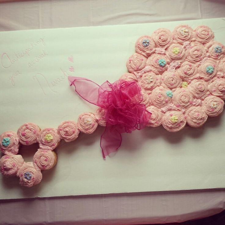 Baby Shower Cupcake Cakes Recipes : Pink baby girl rattle cupcake cake for a baby shower My ...