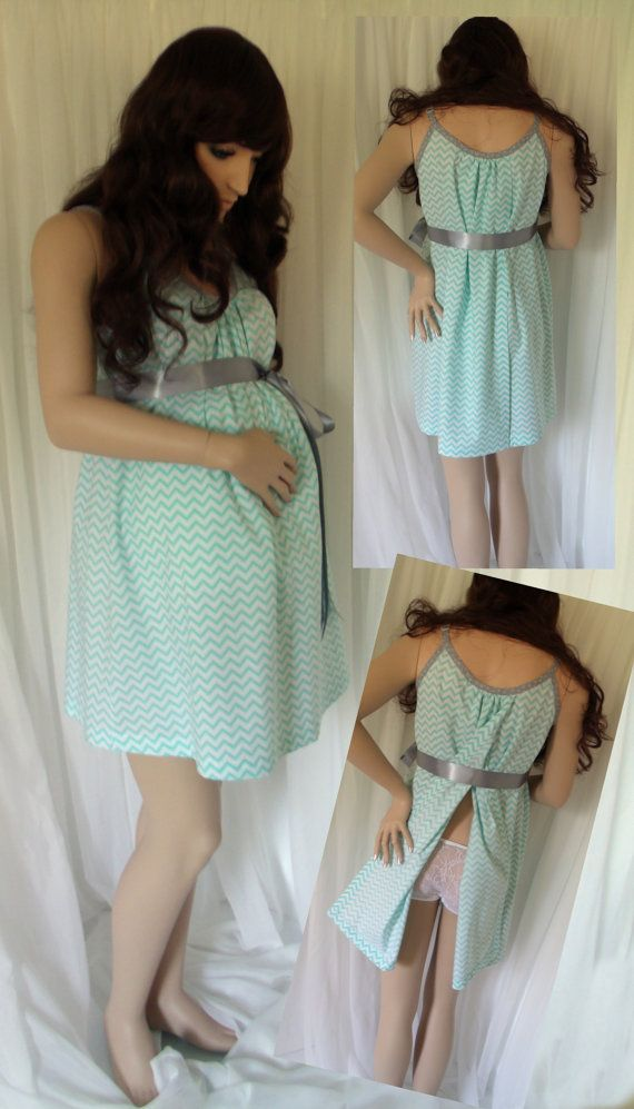 Aqua Blue Chevron Maternity Hospital Gown delivery by MilkThreads