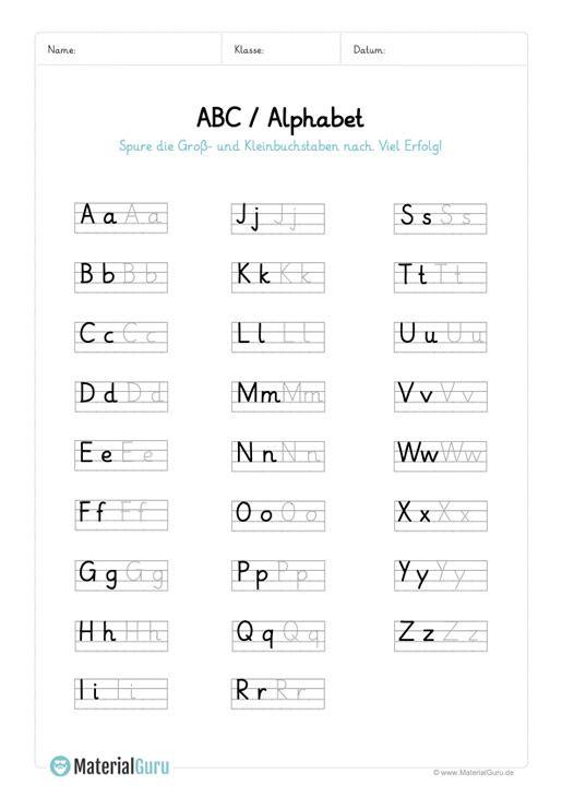 arbeitsblatt abc alphabet nachspuren education abc lernen grundschule und deutsches alphabet. Black Bedroom Furniture Sets. Home Design Ideas