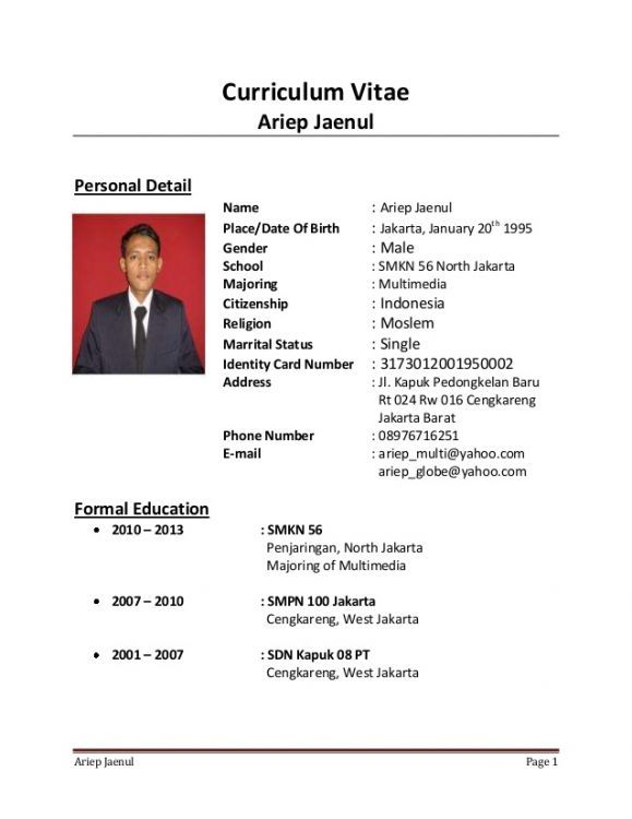 Contoh Cv Fresh Graduate Tanpa Pengalaman Kerja Best Resume Examples