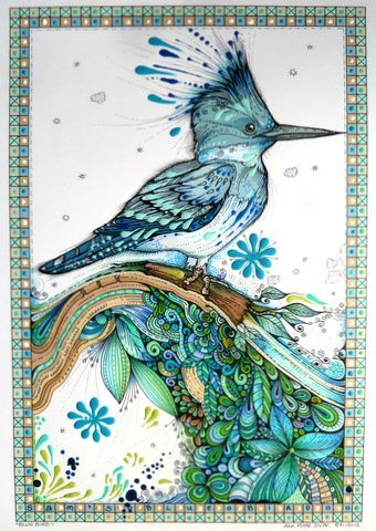 Fabulous.  I love the realism of the bird and the whimsy of the Zentangle.  Animals, Birds & Fishes