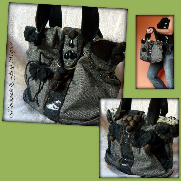 Handmade by Judy Majoros-  Wool cat handbag. Beaded handbag. Recycled handbag.