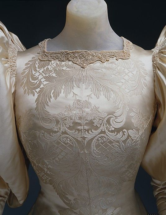 Wedding dress House of Worth (French, 1858–1956) Date: 1896 Culture: French Medium: silk, pearl
