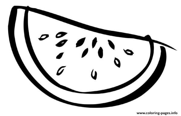 Sliced Watermelon Fruit Coloring Pages Printable Fruit Coloring