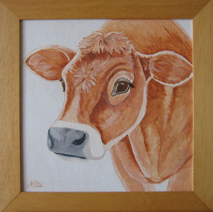 An acrylic painting of a jersey cow I've made for my husband