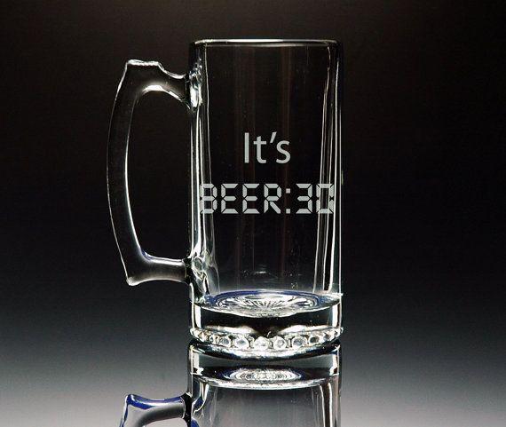 Beer Mug  It's BEER30  Etched Large 26.5oz Glass Mug by NexusGlass, $21.50