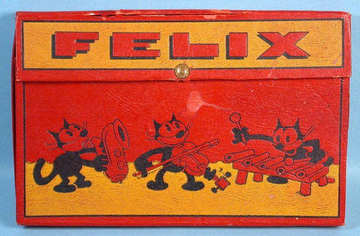 Felix+the+Cat+School+Box+w/Tin+Savings+Bank+Pat+Sullivan+American+Pencil+1933+