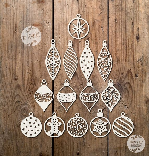 SVG / PDF Set of 14 Baubles Design - Papercutting / Vinyl Template to cut yourself (Commercial Use)