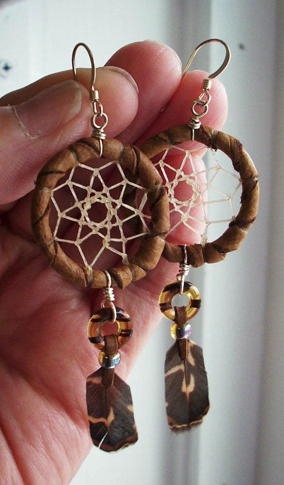 dream catcher earring with natural feathers by IroquoisDesigns, $27.00