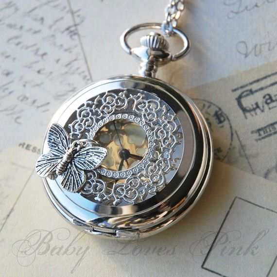 Butterfly Effect Silver Watch Necklace by BabyLovesPink on Etsy, $25.00