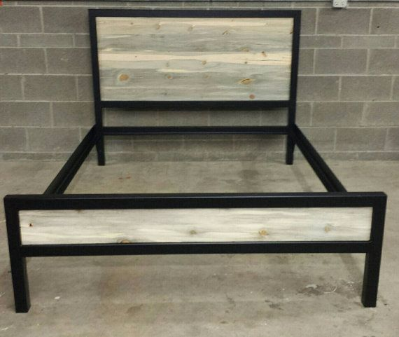 Modern Industrial Powder Coated High Back Bed Frame w/ by JevWorks