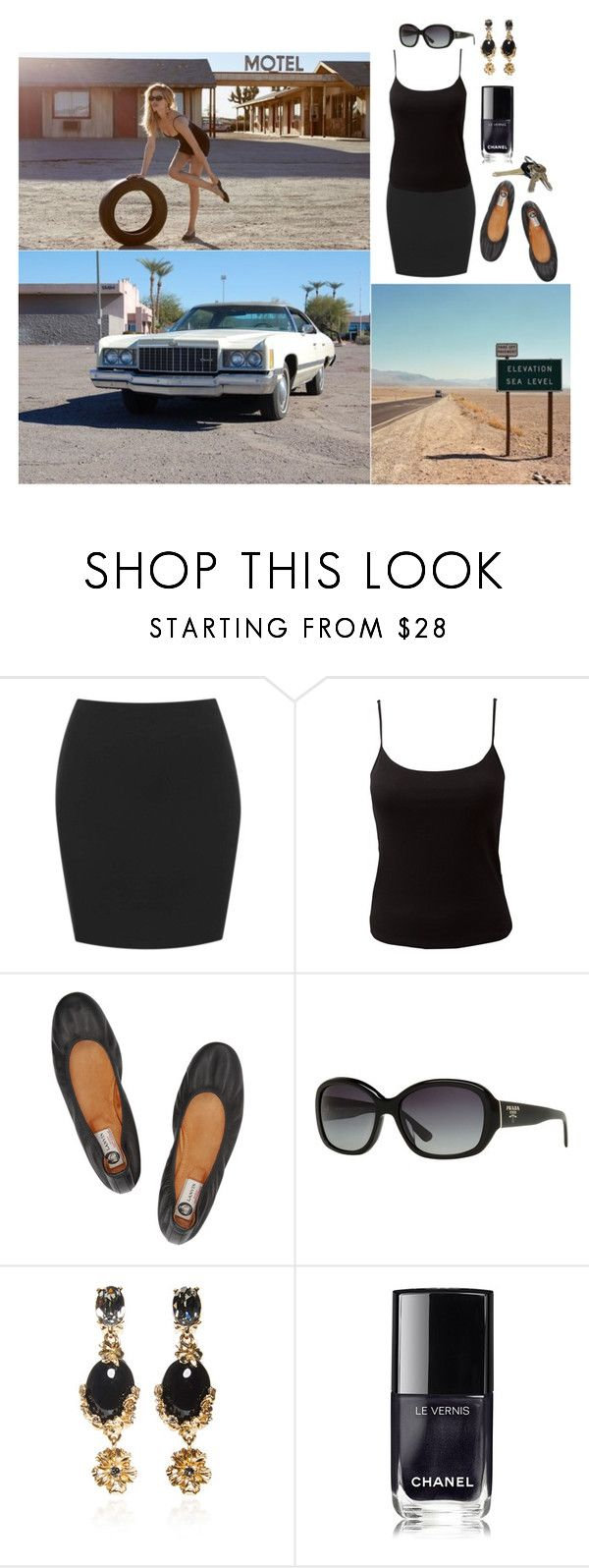 """""""An All-Black Diva's Likelihood of Survival???"""" by chrisiggy ❤ liked on Polyvore featuring Caprice, EAST, Lanvin, Prada, Oscar de la Renta, Avon and Chanel"""