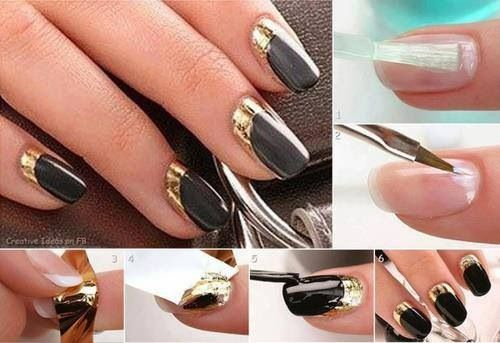 Schwarz goldene n gel nailart pinterest - Easy nail designs you can do at home ...
