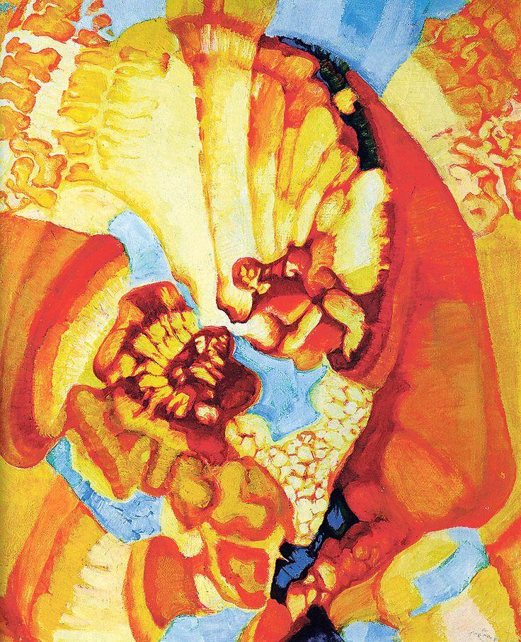 František Kupka Kosmické jaro – Stvoření (asi 1919–1920, olej na plátně) FOTO: Katalog výstavy  http://www.novinky.cz/kultura/258654-meda-mladkova-frantisek-kupka-byl-vzneseny-a-krasny-clovek.html