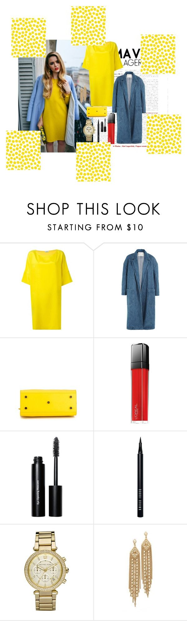 """Yellow"" by michdancelove11 ❤ liked on Polyvore featuring P.A.R.O.S.H., Sandy Liang, Yves Saint Laurent, L'Oréal Paris, Bobbi Brown Cosmetics, Michael Kors, Capwell + Co and Jennifer Paganelli"