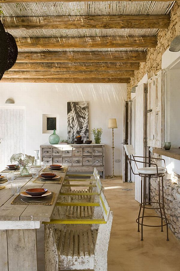 Rustic  Spanish House on Formentera IslandKitchens, Rustic Bedrooms, Dining Area, Dining Room, Expo Beams, Interiors, Modern Rustic, Traditional Home, House