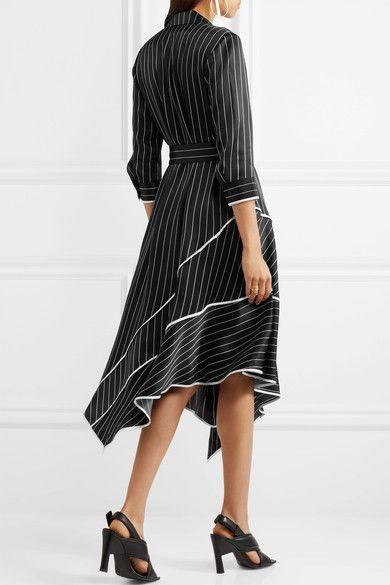 Jason Wu - Asymmetric Striped Silk-charmeuse Midi Dress - Black