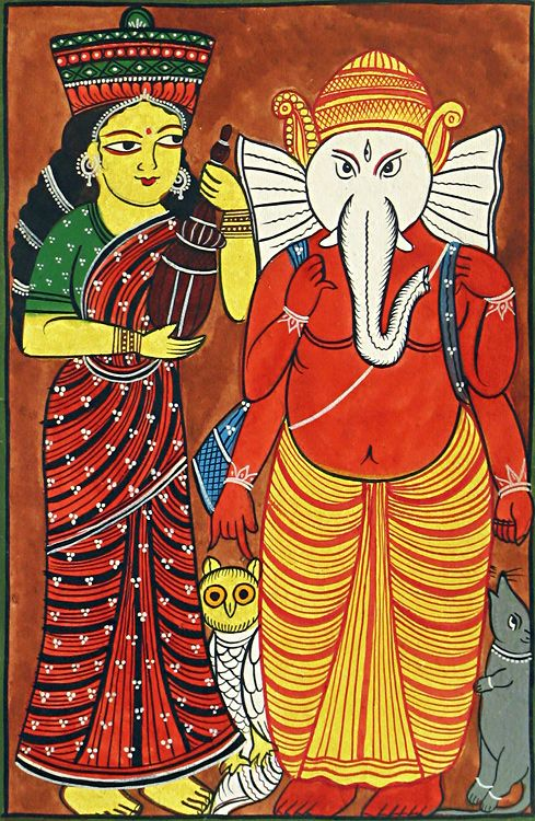 Lakshmi and Ganehsa (Kalighat Painting - Water Color on Paper - Unframed))