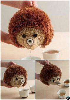 #Crochet Hedgehog Teapot Cozy Pattern-20 Crochet Knit Tea Cozy Free Patterns #Kitchen