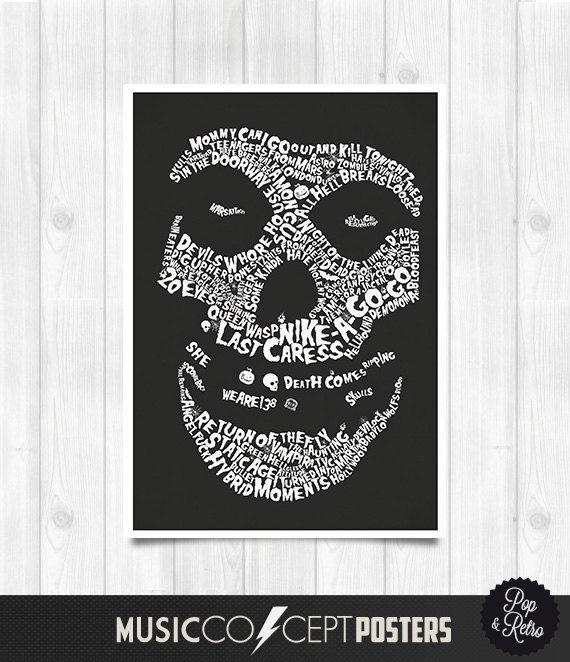 Misfits Lyrics Poster Misfits Print - Music Concept POSTER - Misfits Logo Lyrics Poster on etsy