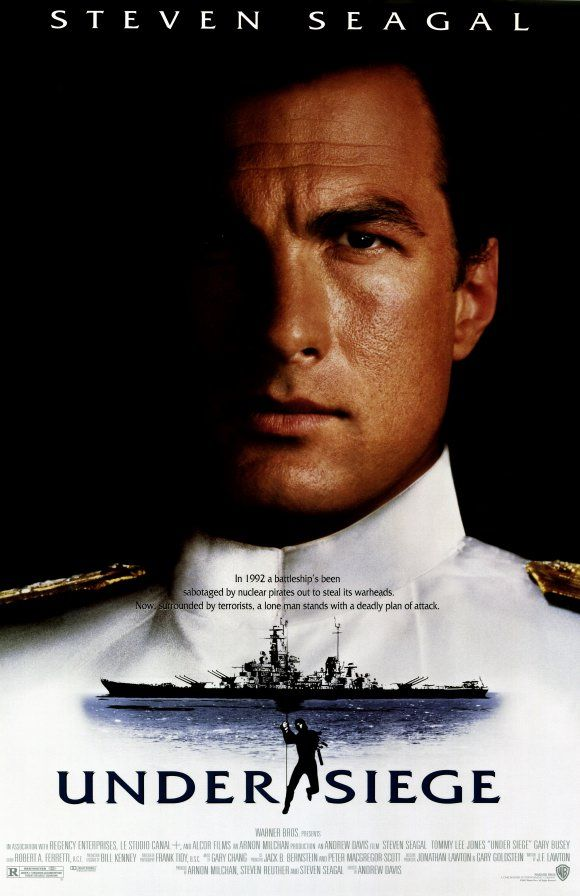 Under Siege , starring Steven Seagal, Gary Busey, Tommy Lee Jones, Erika Eleniak. A former SEAL, now cook, is the only person who can stop a gang of terrorists when they seize control of a US Navy battleship. #Action #Thriller