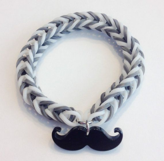 Rainbow Loom Fishtail Rubber Band Bracelet with a Mustache charm. All I need is gray rubber bands and a mustache charm!!