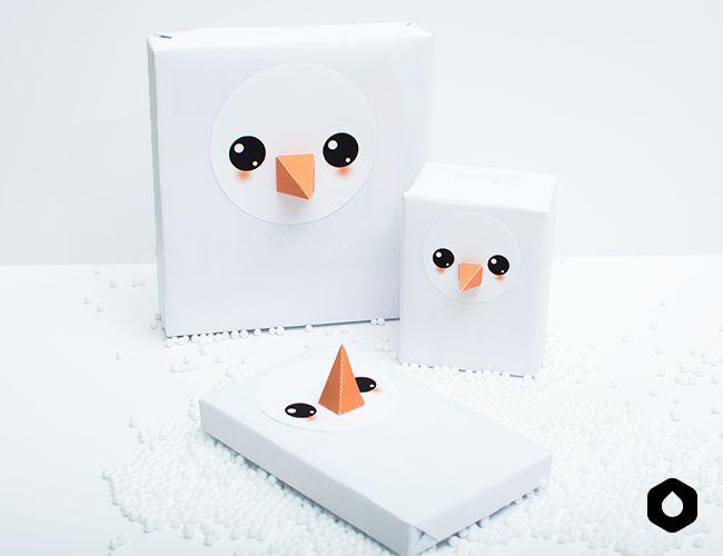 <3 / Les Cadeaux Bonhomme de Neige - Étiquettes free printable